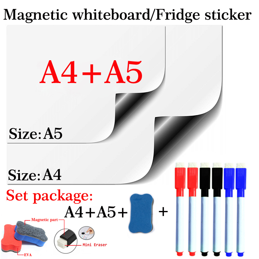 Magnetic Whiteboard Soft Home Office Kitchen School Dry Erase Board White Board Flexible Pad Magnet Fridge A4+A5 Set Package
