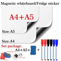Magnetische Whiteboard Soft Home Office Keuken School Droge Wissen White Board Flexibele Pad Magneet Koelkast A4 + A5 Set pakket