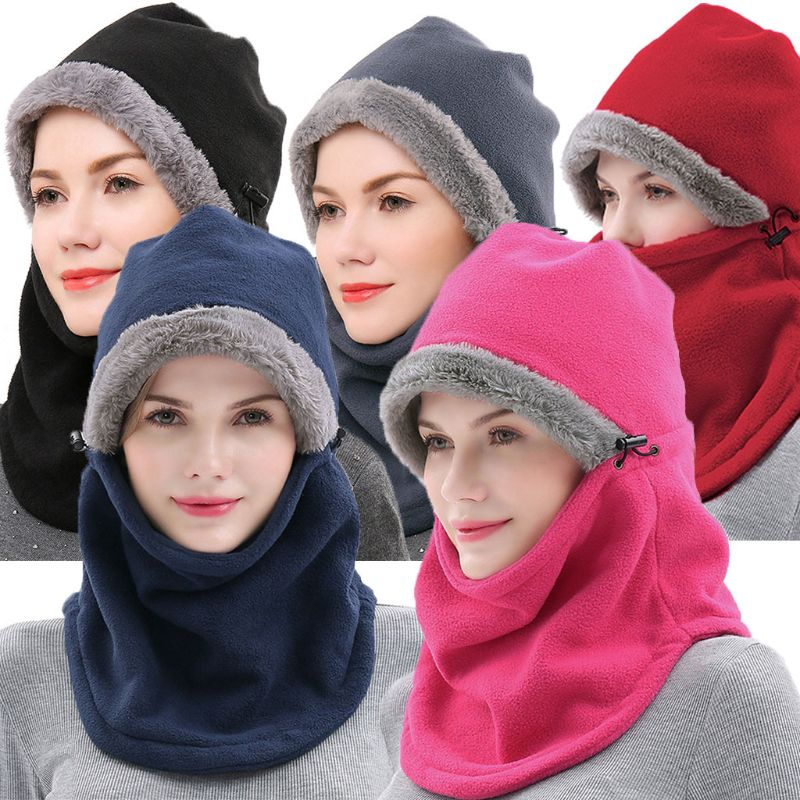 Men Women Windproof Snowboard Winter Thicken Fleece Skullies Beanies Full Face Mask Hat Warm Thermal Hooded Snow Hats