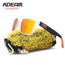 KDEAM sunglasses men polarized Square Frame Sun Glasses Cool Orange Design HD lens UV400 Outdoor Sport Goggle With Original Case цена