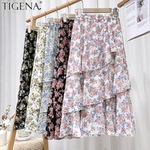 TIGENA Women Chiffon Skirt 2021 Summer Beautiful Floral Print Ruffles Beach Holiday A Line High Waist Midi Long Skirt Female