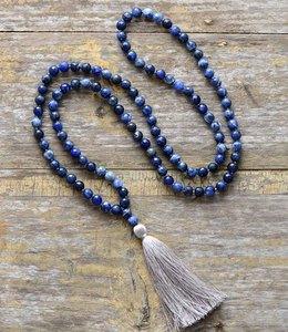 Image 2 - Collar de meditación con borla suave de sodalita faceteadas naturales de 8MM, collar de mujer con 108 cuentas, Mala