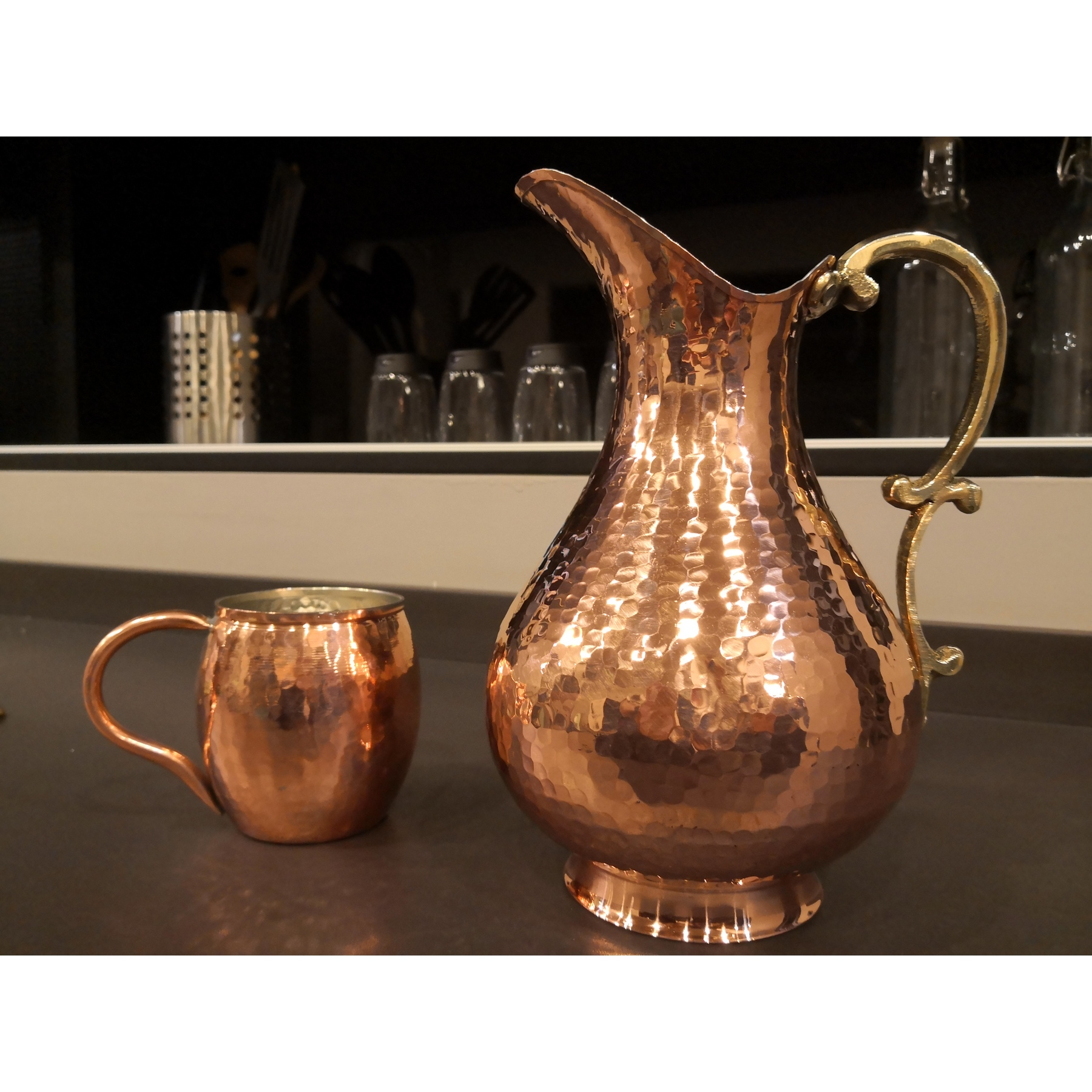 2 Lt (70 Fl Oz) Copper Turkish Water Pitcher Large And Glass Water Jug   Pure Copper Pitcher Carafe Hand Made  MADE IN TURKEY