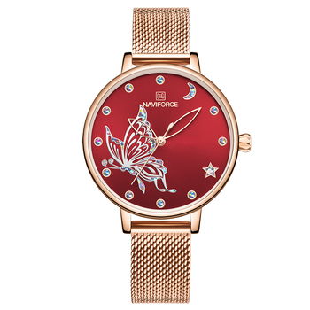 NAVIFORCE Luxury Crystal Watch Women Top Brand Rose Gold Steel Mesh Ladies Wrist Watches Bracelet Girl Clock Relogio Feminino 10
