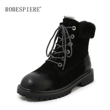 ROBESPIERE Winter Boots Women Quality Cow Suede Low Heel Plush Warm Shoes Platform Round Toe Lace Up Large Size Ankle B99