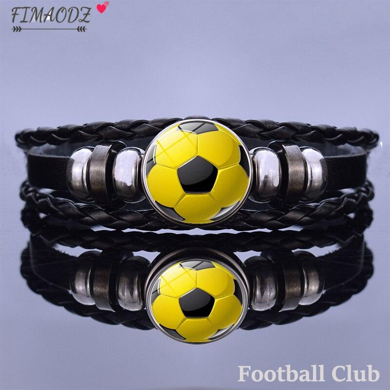 FIMAODZ Football Club Bracelet Soccer Team Logo Custom Fashion Handmade Leather Bracelets for Men Women Fans Bangles Gift