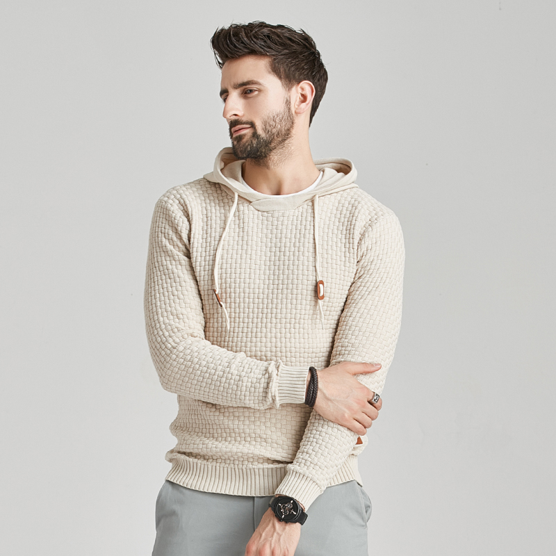 2020 New Men Winter Warm Hoodies Fashion Casual Knit Sweater Men High Quality Autumn Slim Hooded Men Sweater Pullover Coat 5