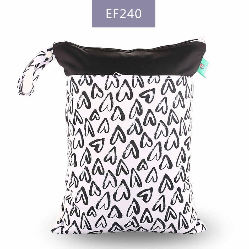 Elinfant 1PC Dapat Digunakan Kembali Tahan Air Fashion Cetakan Kering Basah Tas Popok Double Saku Kain Menangani Wetbags 30*40 Cm grosir