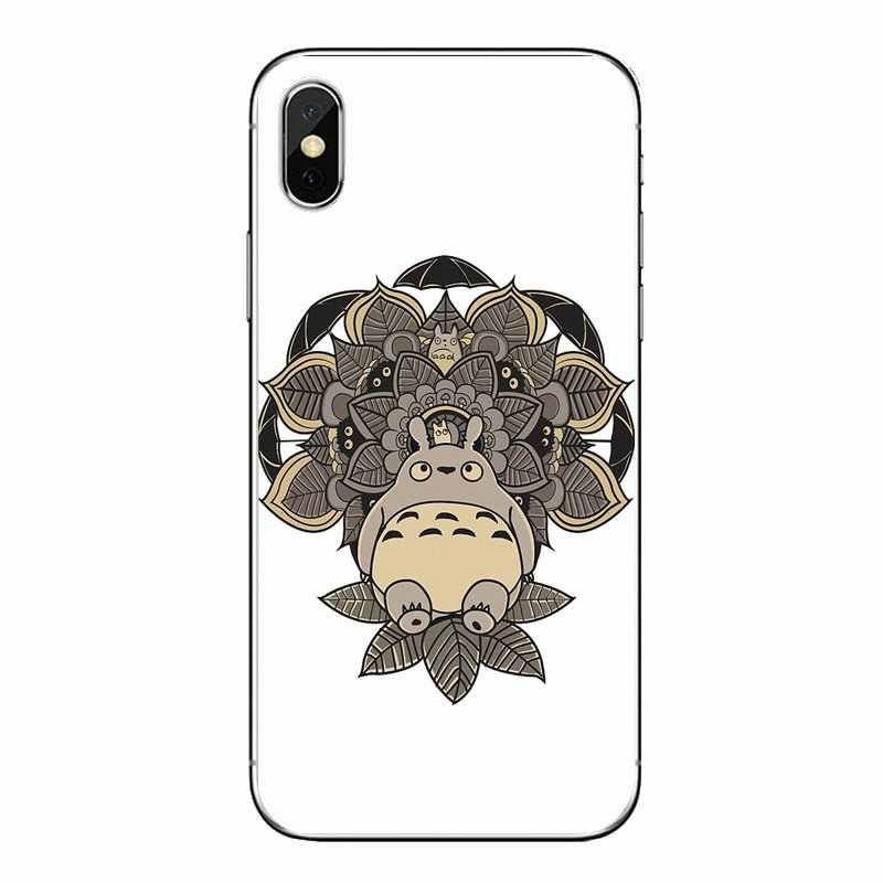 Voor iPod Touch iPhone 4 4S 5 5S 5C SE 6 6S 7 8 X XR XS plus MAX Zachte Transparante Gevallen Covers Blauwe Lotus Patroon Mandala