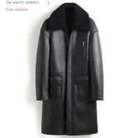 Sheep Shearling Genuine Leather Jacket Men Winter Real Fur Coat Sheepskin Leather Coats Double sided Wear 8408 KJ3633
