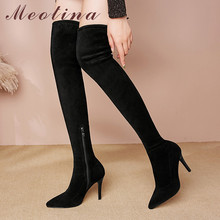 Meotina Winter Thigh High Boots Women Kid Suede Zip Thin Heel Over the Knee Boots Sexy Slim Super High Heel Shoes Lady Fall 3-10 недорого