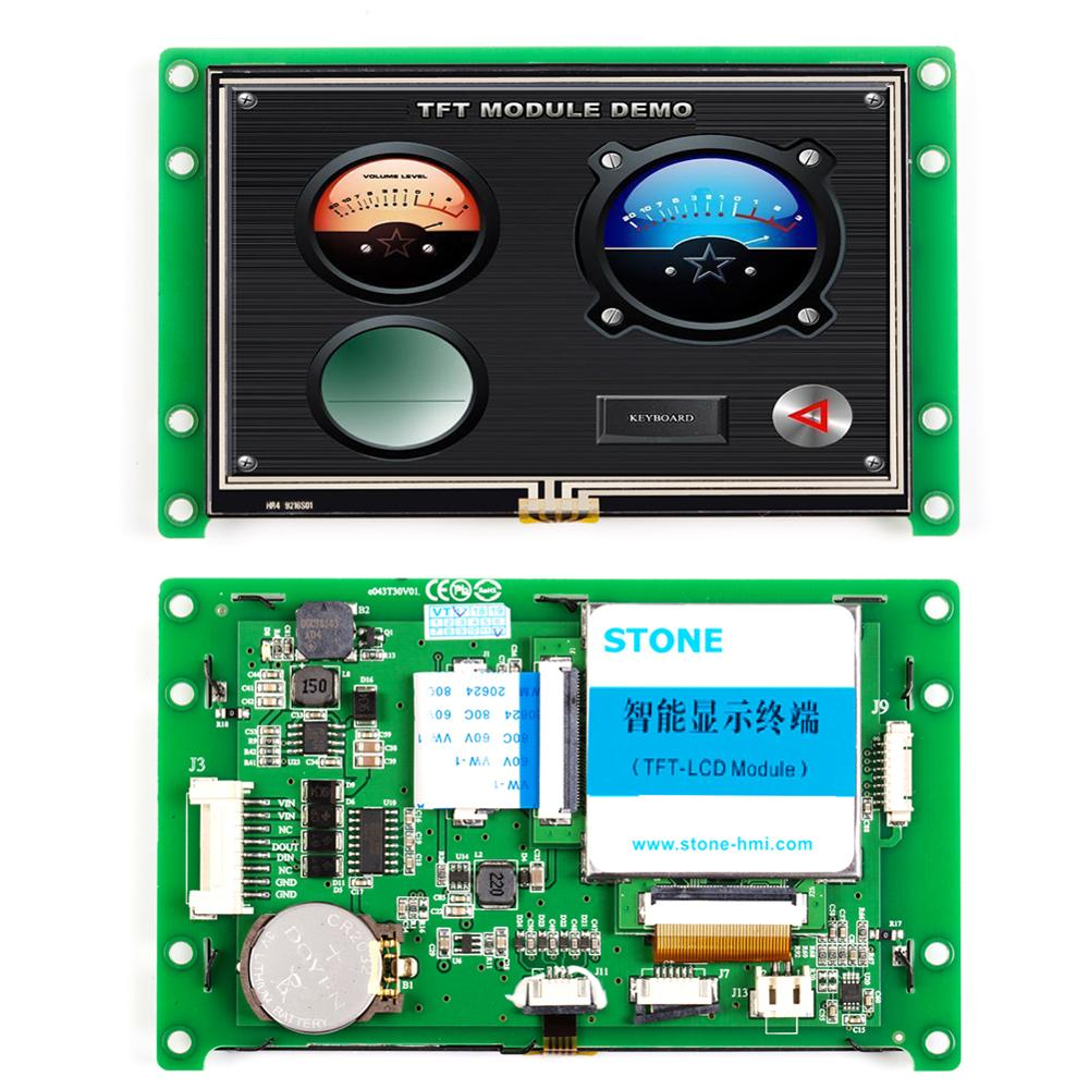 4.3 TFT LCD Display Module with Touchscreen + Controller + RS232 RS485 Interface + Software
