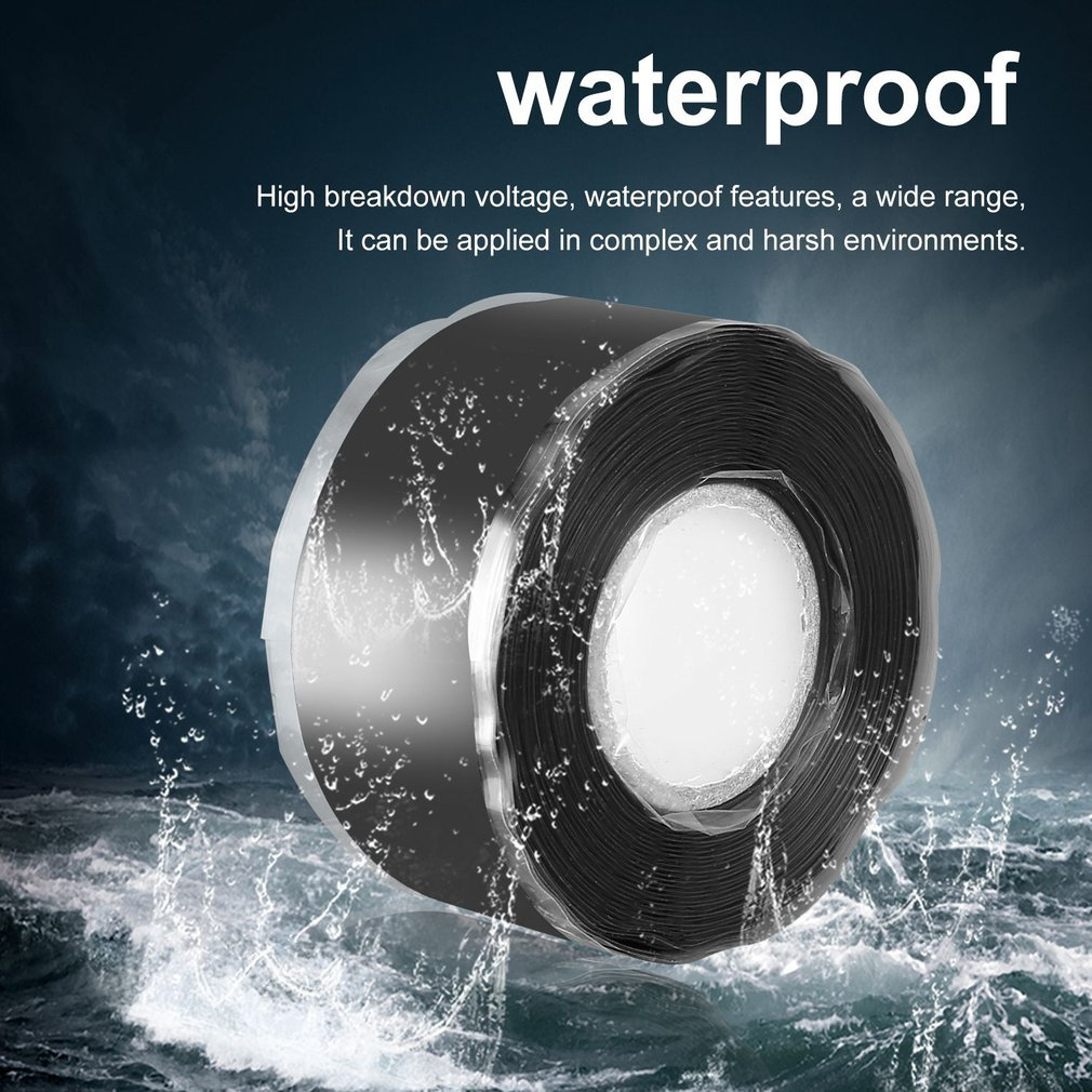 1.5/3M Multi-Purpose Self-Adhesive Strong Black Rubber Silicone Repair Waterproof Bonding Tape Rescue Self Fusing Wire