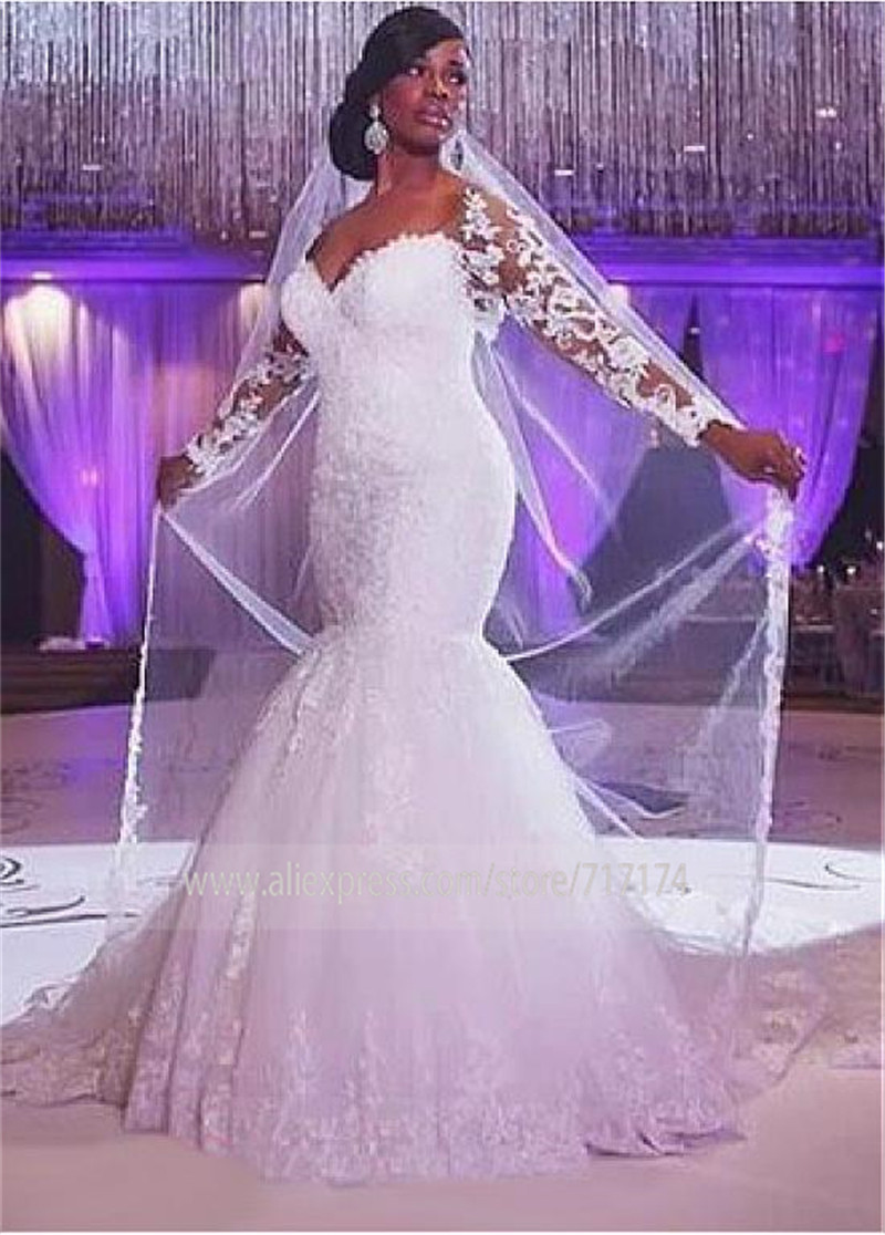 Sweetheart Mermaid Lace Slim Fashion Wedding Dresses Long Sleeves Lace Up Corset Bridal Gowns Plus Size Custom Made Spring