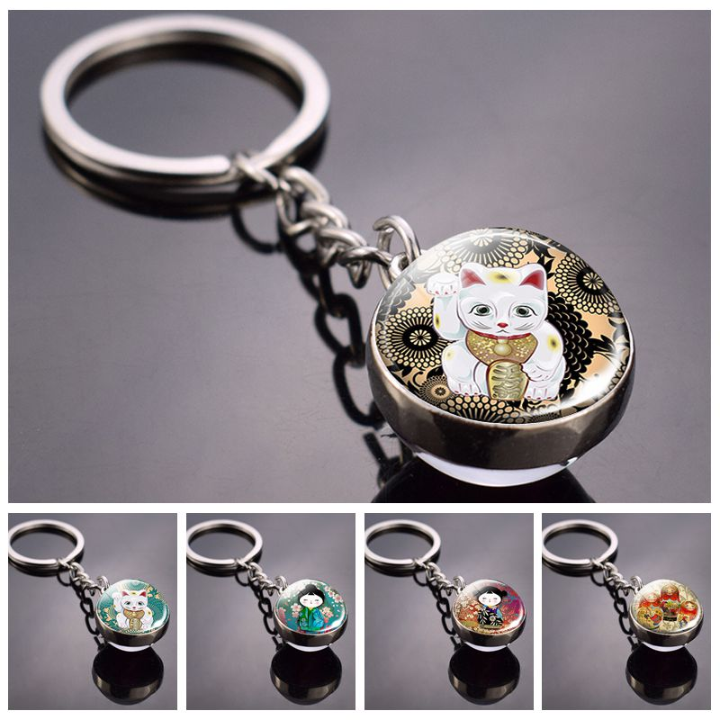 Japanese Lucky Cat Keychain Japanese Doll Picture Glass Ball Key Chain Lucky Jewelry For Men For Women Christmas Gifts For Kids