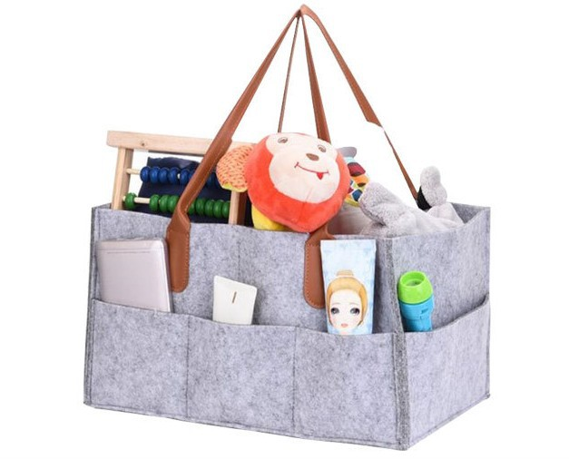 New Style Travel Felt Makeup Storage Bag Baby Diapers Storage Bag Felt Large-Volume Cosmetic Bag Bag In Bag Logo