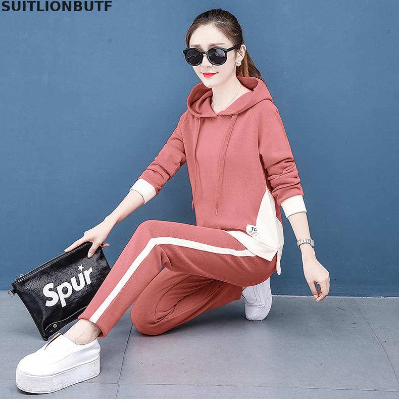 Casual Plus Size Tracksuit Set Long Sleeve Knitted Hoodie Sweatshirt And Sweatpants 2 Piece Set Women Outfits Loose Sport Suit