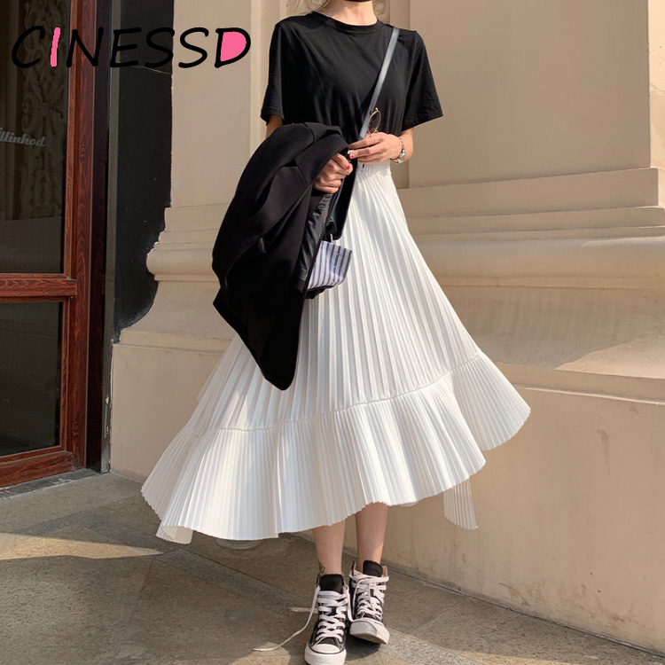 Korean Irregular Skirt Sweet Pleated Chiffon Skirt Women 2019 Autumn Winter New Faldas Largas Elegantes Black High Waist Skirts