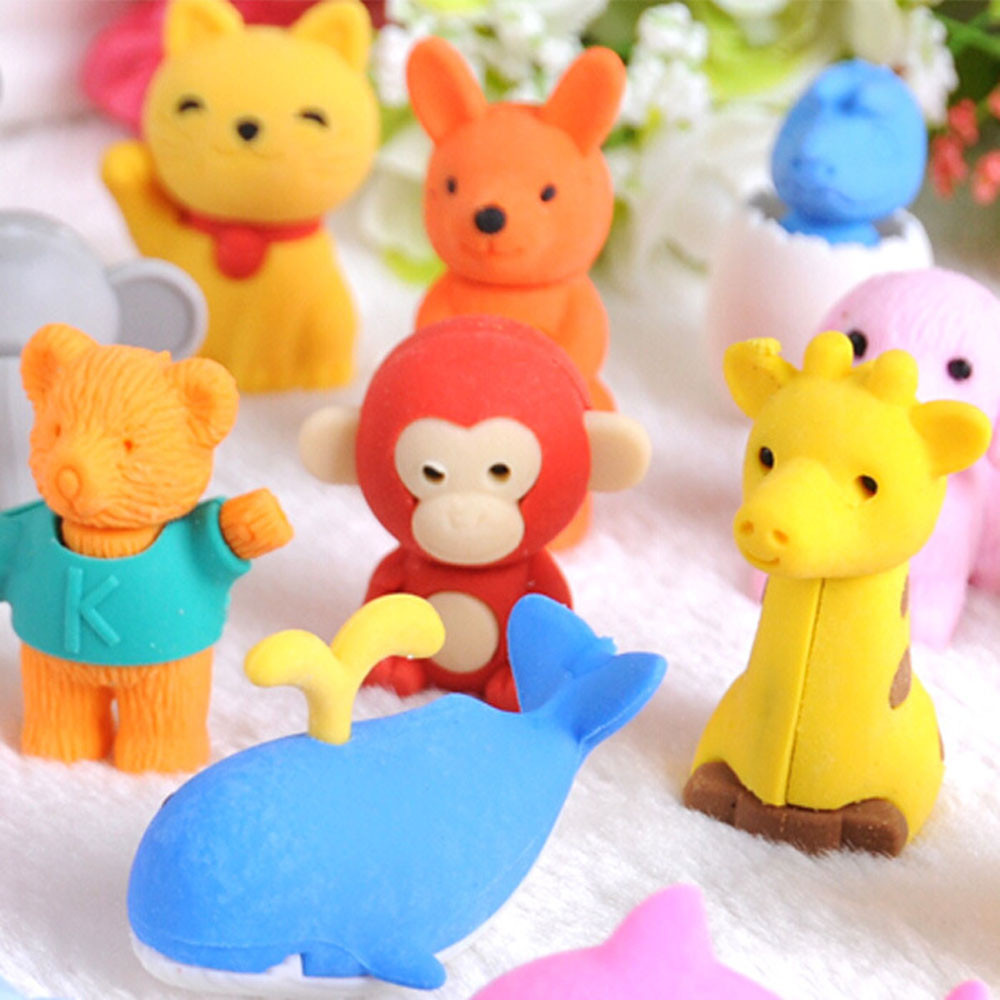 Cute Animal Rubber Pencil Eraser Set Stationery Novelty Children Party Gift Kids Student Study Supply School Office Stationery