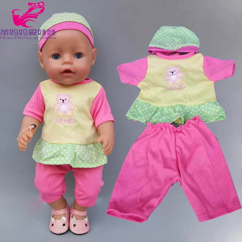 45cm Baby New Bom Shirt Tousers With Hat For Baby Doll Wears Children Girl Toys Clothes