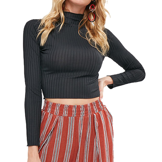 Sexy Turtleneck Sweater with Cropped Tops for Women