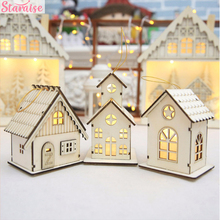 Staraise Wood House LED Light for Christmas Tree Decorations DIY Hanging Ornament Ornaments Xmas Pendant New Year