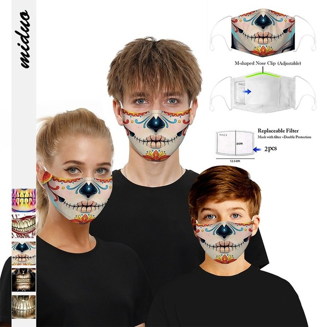 Fashion Hot Sale Adult Children Cartoon Printing Skeleton Joker Protective Mask Filter Chip Dustproof PM2.5 Smog Face Mask Gift