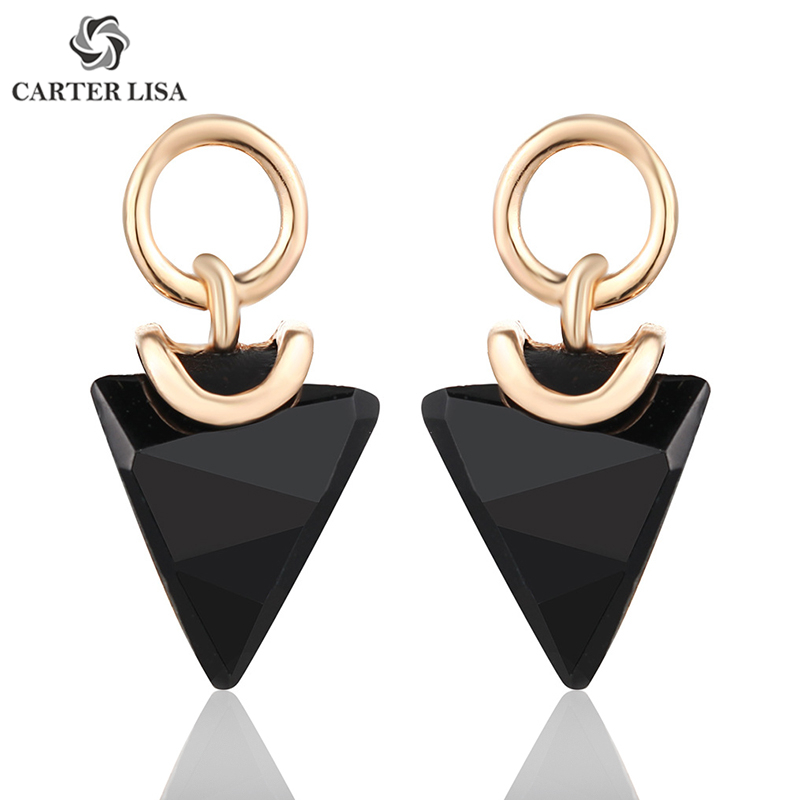 CARTER LISA Korean Charm Geometric Faced Triangle Black Crystal Dangle Drop Earrings For Women Statement Earings Fashion Jewelry