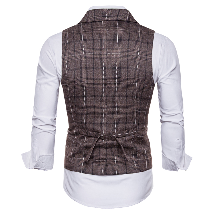 Hf05fc6f02e194a1e98c781292fa9fecfS - New Mens Vest Casual Business Men Suit Vests Male Lattice Waistcoat Fashion Mens Sleeveless Suit Vest Smart Casual Top Grey Blue