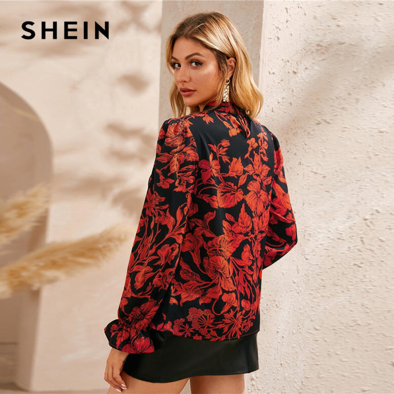 SHEIN Stand Collar Floral Print Ruffle Cuff Elegant Blouse Top Women Autumn Fashion Long Sleeve Ladies Basic Casual Blouses 2