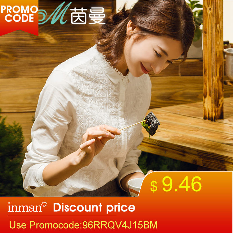 INMAN Women Tops And Delicate Embroidered Ladies Blouse Stand Collar Cotton Shirt Long Sleeves White Bottoming Shirt