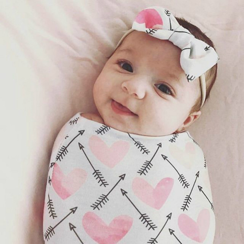 2pcs/set Sleeping Bag With Bow Hair Band Anti-kick Set Baby Toys For 0-12 Months Newborn Multicolor Baby Wrap Sleeping Towel Bag