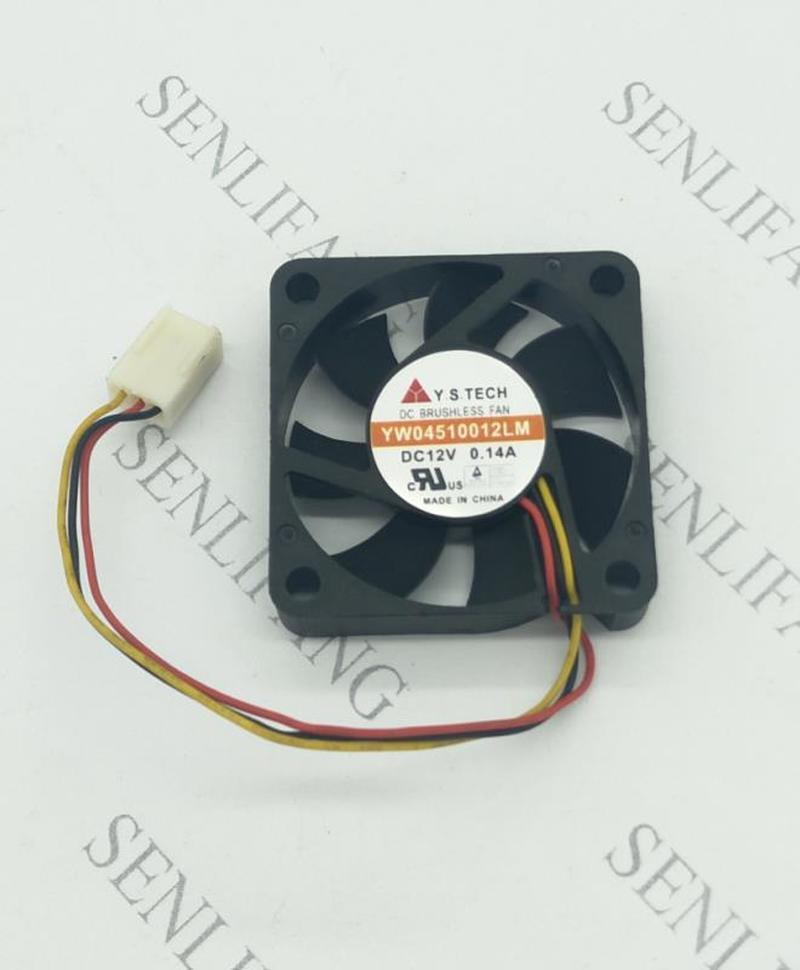 For Y.S TECH YW04510012LM DC 12V 0.14A 45x45x10mm 3-wire Server Cooler Fan