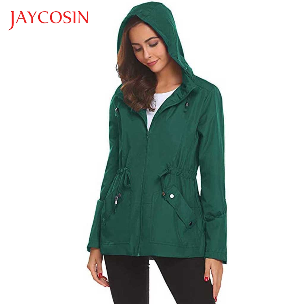 JAYCOSIN Basic Jacket Coat Outwear Windbreaker Hooded Loose Thin Casual New -2 Female title=