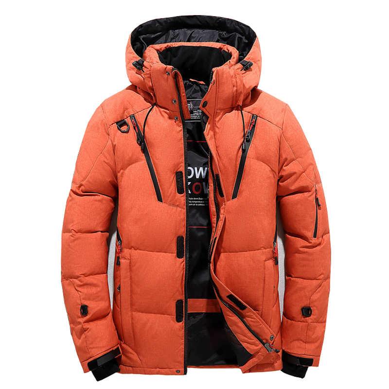 남성 다운 높은 품질 두꺼운 따뜻한 겨울 자 켓 후드 두꺼운 오리 파 카 코트 캐주얼 슬림 오버 코트와 많은 주머니 망