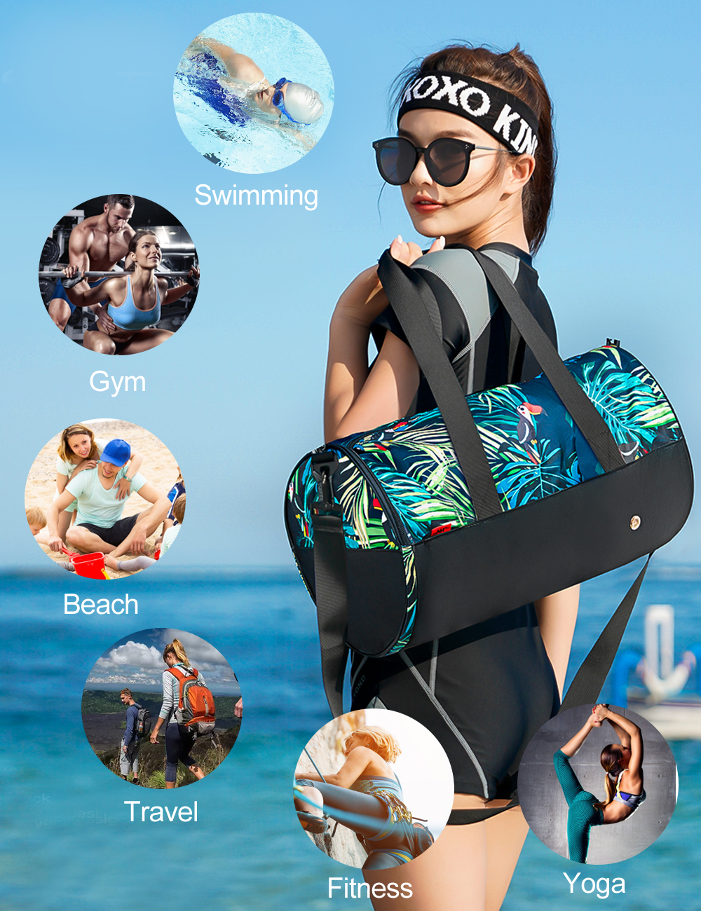 Купить с кэшбэком 361 Sport Bag Fitness Gym Bag Waterproof Swimming Bags  With Shoes Compartment Shoulder 25L Combo Dry Wet Pool Beach Men Women
