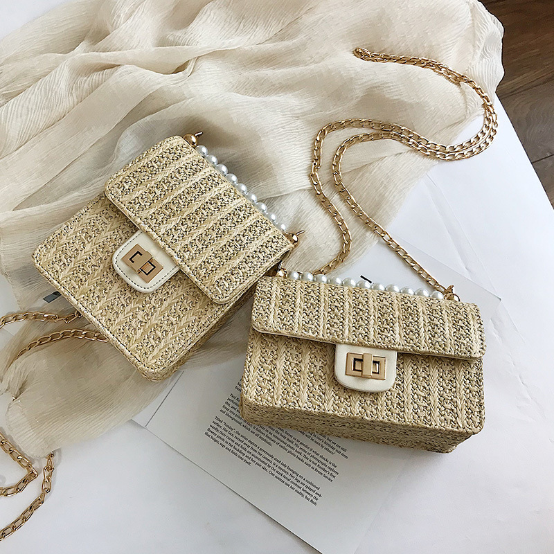 2020 Straw Bags Fashion Square Beach Bag Rattan Woven Bags For Women Summer Chain Crossbody Bags Clutch Bolsa Feminina