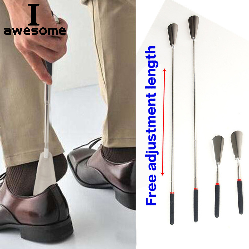 Silver Long Handle Shoehorn Flexible Stainless Steel Shoe Horn Stick Shoe Lifter Tool Professional Shoe Spoon Tool 26.5~74.5cm