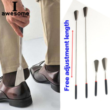 Silver Long Handle Shoehorn Flexible Stainless Steel Shoe Horn Stick Shoe Lifter Tool Professional Shoe Spoon Tool 26.5~74.5cm klv 1pc 52cm lifter shoehorn durable stainless steel shoe horn long handle d5505