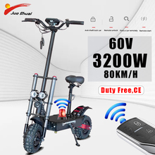 60V 3200W Adult Electric Scooter 80KM/H Powerful 11inch Off Road Fat Tire Foldable Long Skateboard Electric Hoverboard EScooter