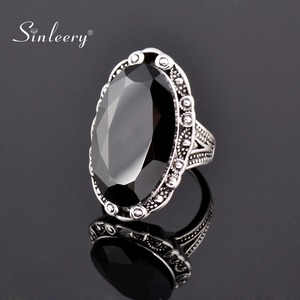 SINLEERY Vintage Big Black Oval Stone Rings For Women Size 6 7 8 9 10 Antique Silver Gold Color Jewelry Anel Jz516 SSC(China)