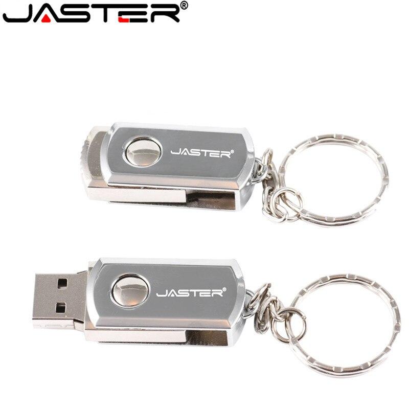 JASRER USB 2.0 Metal Key Chain USB Flash Drive 16GB 32GB 64GB 128GB Pendrives 4GB 8GB Real Capacity Pen Drive Usb Stick
