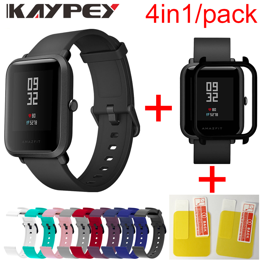 4in1 Soft Silicone Sport Strap For Xiaomi Huami Amazfit Bip Smart Watch Colorful Bracelet With PC Case Cover Screen Protector