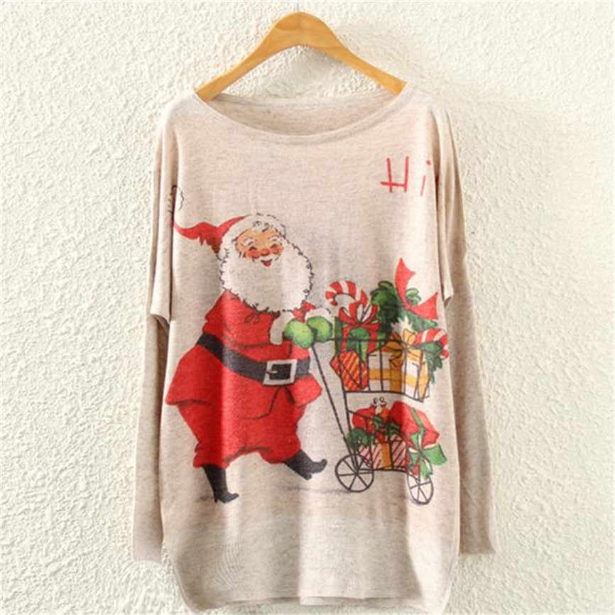 Christmas Sweaters Women New Year Knitted Pullovers Winter Santa Claus Print Jumper Long Sleeve Loose Tops Warm Knits Blouse