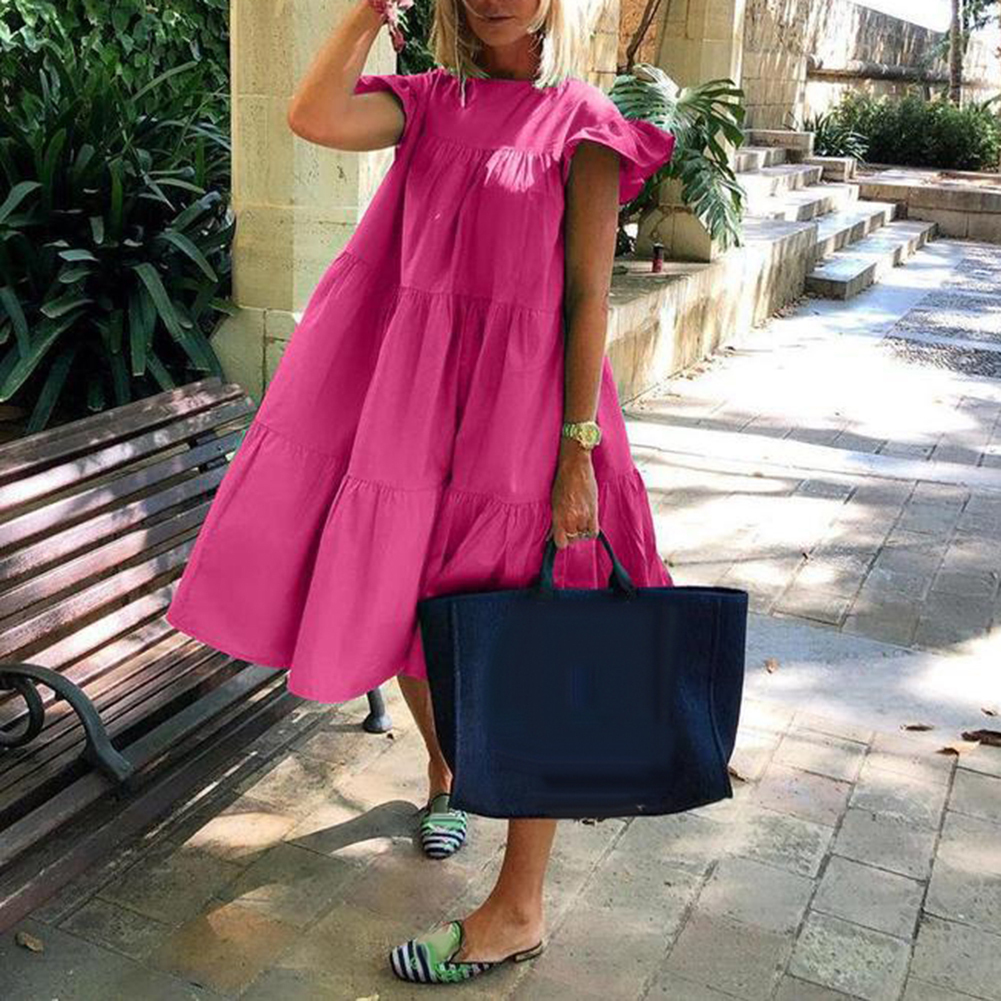 dresses for women 2021 Casual Solid Color O Neck Ruffled Short Sleeve Large Hem A Line Midi Dress summer clothes for women