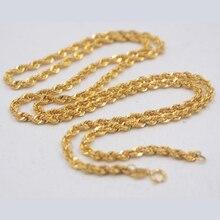 אמיתי טהור 18K צהוב זהב שרשרת 3mmW חבל נשים של קישור עשיר 23.6 L מתנה חדש