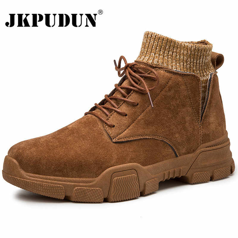 Vintage Men Boots Suede Leather Western Ankle Boots Men Waterproof Winter Work Boots Casual Shoes Sneakers Cowboy Botas JKPUDUN