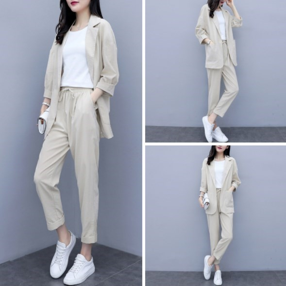 Womens Summer Flax Office Suits Blue Yellow Beige Linen Pant Suits for Women 2 Two Piece Blazer Sets Business Casual Outfit