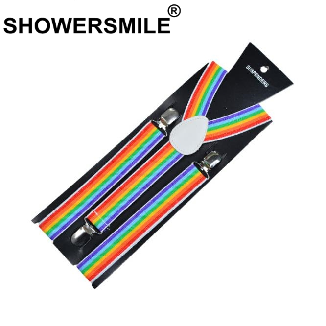 SHOWERSMILE Suspenders Rainbow Women Striped Shirt Rainbow Suspenders Colorful Female Braces For Trousers 2019 New Arrival