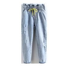 Повседневные джинсы для девочек новинка 2020 детские на шнурке